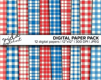 Red and Blue Seamless Paper, The Old Glory Tartan,4th Of July Paper,Buffalo Plaid Digital Paper,Lumber Jack,Printable Scrapbook Paper