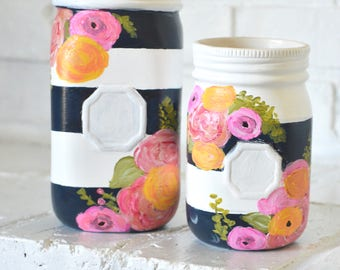kate spade inspired jars, flower vase, colorful flowers, stripes, party decor