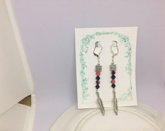 Native Inspired Dark Red and Purple Feather Earrings