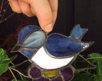 Blue bird stained glass sun catcher