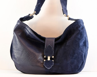 Suede, blue-purple, upcycled leather hobo handbag from repurposed leather