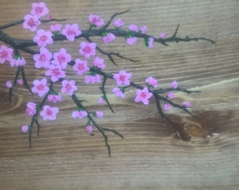 Hand made, hand painted, unique side table - Pink cherry blossom