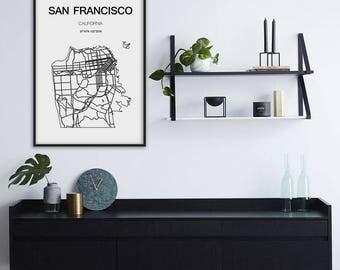 San Francisco map, San Francisco print, City maps, California map, San Francisco art, Scandinavian style, Minimalist art