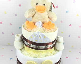 Two Tier Yellow Duck Nappy Cake