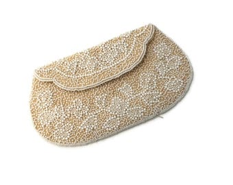 White Wedding Clutch, White and Cream Evening Bag Beaded, Wedding Purse, Bridal Money Bag, Something Old, Wedding Clutch