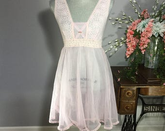 Princess Nylon Pink Sheer Nightie Babydoll Lingerie Size Small