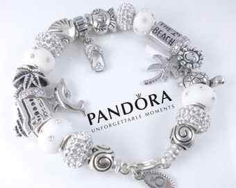 Authentic Pandora Sterling Silver Beach Bracelet with White Sterling Silver Charms