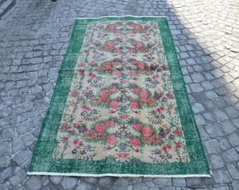 Vintage ushak Rug , Turkish Oushak Carpet, Handmade Rug, Turkish Rug Runner Rug Size (204 cm x 116 cm) 6,6 feet x 3,8 feet model:293