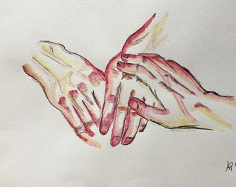 Hands watercolor (print)
