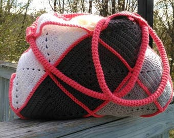 Large Solid Granny Square Bag with Crochet Rope Handles