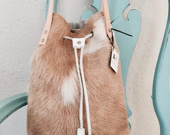 SALE * Hank Henrietta Bucket Bag in Tan and White hair on hide, cowhide leather with white leather drawstring & tassels. Gift for Her