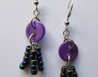 Button & Glass Bead Earrings (Button Violet)