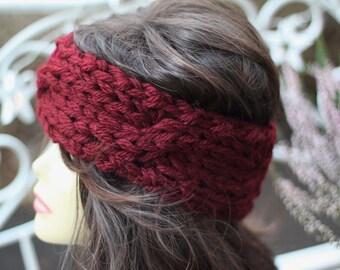 bandeau knitted braid headband burgundy Alpaca
