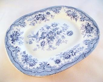 Asiatic Pheasant small platter or serving plate - blue & white ironstone transferware