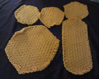 Mustard Yellow Potholders knit vintage 5 pieces