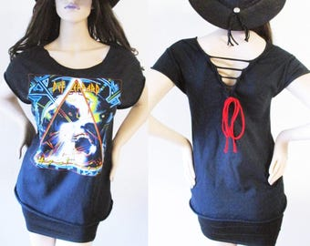 Def Leppard cut out back shirts S-XL band tee