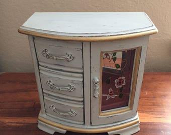 Shabby Chic Jewelry Box, Vintage Grey Jewelry box,Distressed Jewelry Box, Hand painted Jewelry Box,Wooden Jewelry Box,Upcycled Jewelry Box