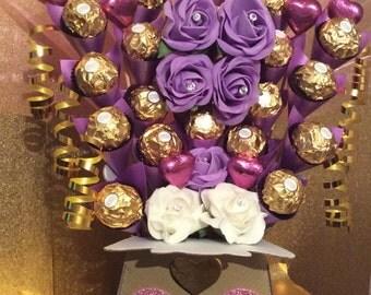 Ferrero Rocher, Pink Heart & Roses Chocolate Bouquet