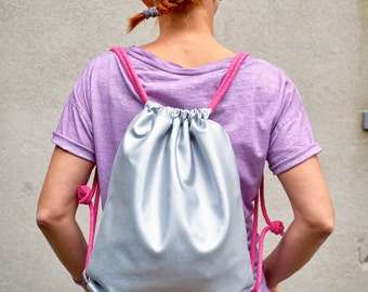 Silver backpack, Gymsack, artificial leather