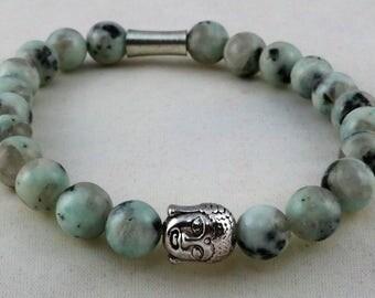 Yoga Bracelet, Buddha Head Bracelet, Kiwi Jasper Natural Stone