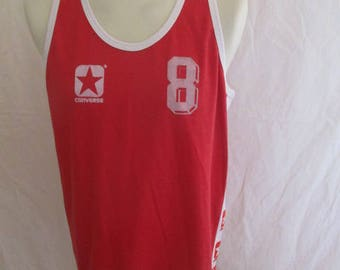 Rare vintage door N 8 80s Basketball Jersey Converse red Size XXL