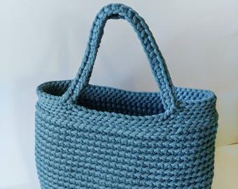 Blue handmade bag - Rope crochet handbag - Knitted tote bag - Boho yarn bag - Unique shoulder bag - Stylish shopping bag