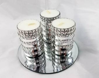Set of 3 Rhinestone Tealight Candleholders,Wedding candles,Rhinestone Candles, Party Tealights,Wedding Tealights,Party Decor, Candleholder