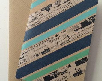 Diagonal striped greeting card