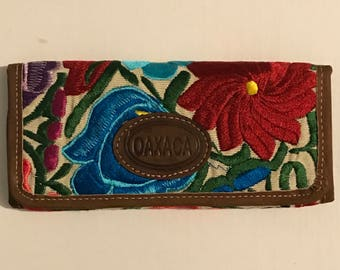 Embroidered Mexican Wallet, Leather Trim
