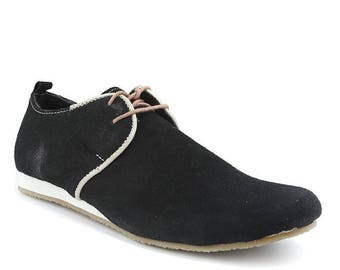 Men Handmade  Oxford  in Leather and lack  Mustard Suede - Shoe