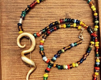 Handmade Colorful Pin Necklace