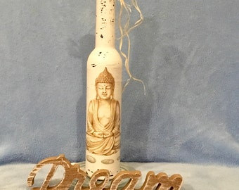 Asia Buddha bottle on old made unique handmade recycled
