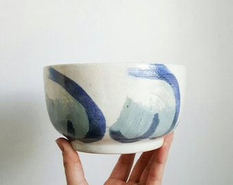 large glazed stoneware bowl, hand made pottery, thrown pottery