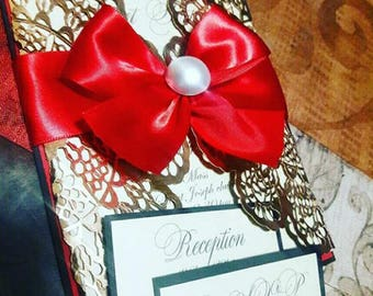 Sweet 16/ Quinceanera / Wedding red ans gold invitatio s