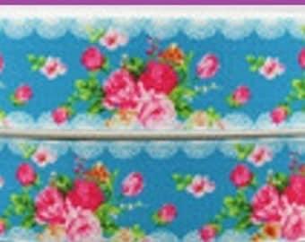 1 x Metre, FLOWERS, 7/8, 22mm, Garden, Grosgrain. Ribbon