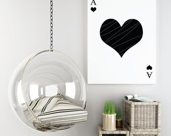 Ace of Hearts Printable Wall Art Home Decor.Typography.Modern.Minimalistic.Black & White.Instant Digital Download Print