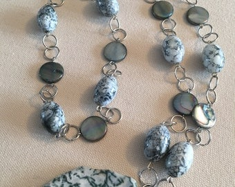 Earthy casual silver and green agate