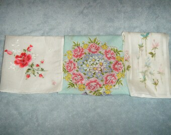 Vintage Women's Handkerchiefs - Three with Pink Roses