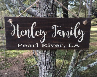 Family Name Wood Sign for Campsite