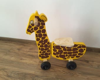 Wooden giraffe ride-on