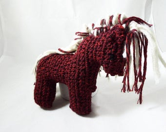 Crochet Red and White Horse Plushie