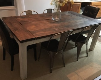 Farmhouse Dining Table, rustic, wood furniture, customized, kitchen, fixer upper