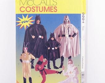 Vintage McCalls Pattern 8334 Child's Super-Hero Costumes, Size 10, 12, Bat Mask, Bug, Ninja, Superhero Halloween Costumes