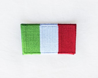 1x Italian flag patch -  Italy europe world Roma Firenze emblem Iron On Embroidered Applique logo green white red badge