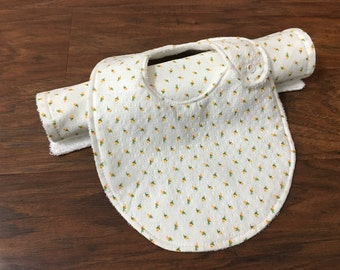 Cotton Baby Burp Cloth and Drool Bib Set, Baby Shower Gift, Gender Neutral, Baby Branch Boutique