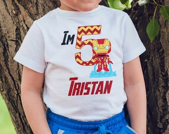Digital Marvel Iron Man Avengers Birthday Shirt Iron On Transfer Design, Custom Name Shirt, Childrens Clothing, Marvel Printable, Superhero