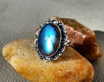 Labradorite Ring 8 Sterling Silver Blue Natural Gemstone Rings