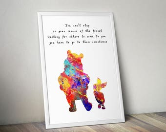 Winne the Pooh and Piglet Quote, Watercolor Print, Children's Nursery Art, Hundred Acre Wood, 100 Acre Wood, Poster, Print, Disney,