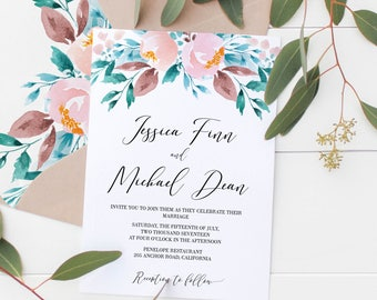 Printable Blush Invite, Floral Wedding Invitations, Watercolor Invites,