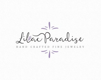 Premade Script Logo Design for Photography Business or Wedding Floral Lilac - White and Black Photo Watermark Logo Included